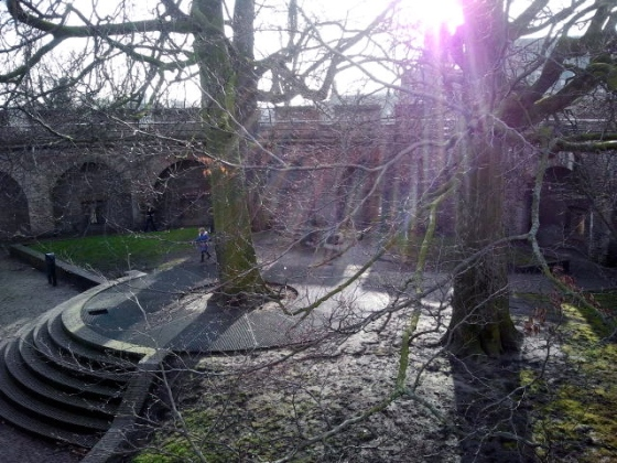 """The perfect day for a stroll atop the old Leiden fortress (""""burcht"""")."""